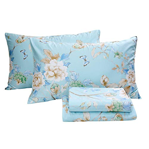 Collection Floral Print - FADFAY Floral Bedding Shabby Blue Bird Print Bed Sheet Set Luxury Bedding Collections 800 Thread Count 100% Egyptian Cotton Deep Pocket, 4 Piece-California King Size