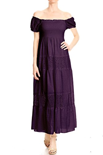 Anna-Kaci Womens Off Shoulder Boho Lace Semi Sheer Smocked Maxi Long Dress, Purple, -
