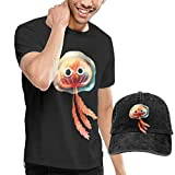 Gili-Boom Jellyfish Men's Short Sleeve Crewneck Cotton T-Shirt And Dad Hat Baseball Cap Polo Style For Men's