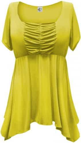 Women's Yellow Slinky Plus Size Supersize Babydoll Extra Long Shirt