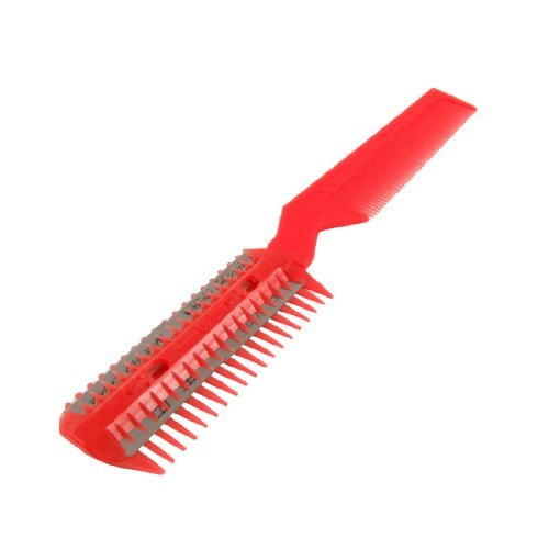 DealMux Metal Razor Blade Plastic Hair Comb Cutter Trimmer Red