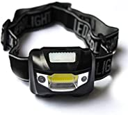 Rechargeable LED Headlamp for Camping Hiking Hunting, Wear Running Headlight Powered by 3 AAA Batteries ( Not