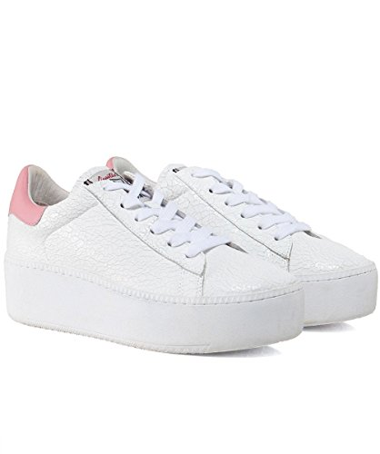 Ash Women's Crackle Leather Cult Platform Trainers White & Blush White Blush zI2Zzpp
