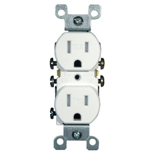 Leviton W5320-T0W 15 Amp, 125 Volt, Weather and Tamper Resistant, Duplex Receptacle, Grounding, Side and Quickwire, (White Duplex Outlet)