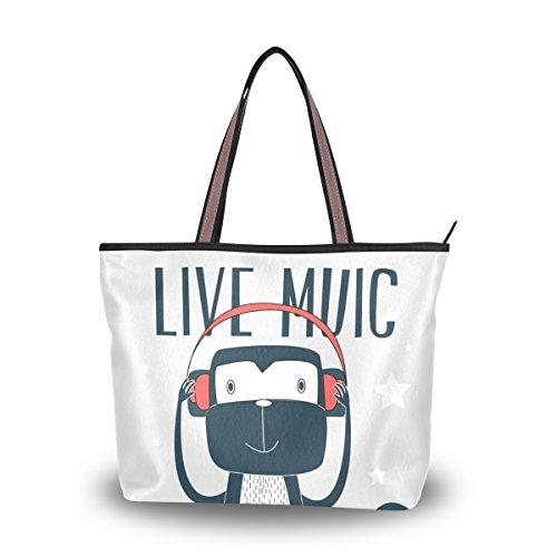 U LIFE Live Music Monkey Large Carry On Tote Bag - Sungalasses
