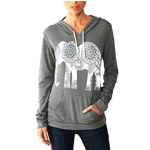ULIAN Women's Fall Hoodies Elephant Print Long Sleeve Pullover Sweatshirt with Pocket (L, Light Grey)