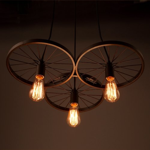 Lightinthebox Edison Loft Retro Restaurant Bar Pendant Lights Hanging Lamps American Country Wrought Ion Chandeliers Ceiling Light Industrial Style 3 Wheels Painted Metal
