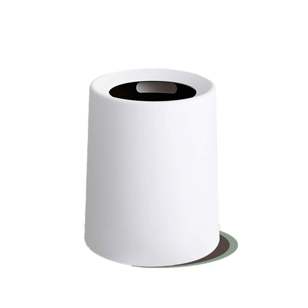 Wkkie Redonda Se superponen Top Abierto Top superponen Cubo de Basura, Papelera de Reciclaje Basurero para Cuarto de baño, Oficina, Cocina Cubo de la Basura-Blanco 12L f5ad05