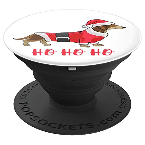 Merry Christmas Weenie Dachshund Hot Dog Dressed as Santa - PopSockets Grip and Stand for Phones and Tablets]()