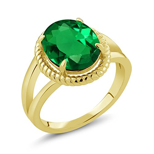 Gem Stone King 3.63 Ct Oval Green Simulated Emerald 18K Yellow Gold Plated Silver Ring (Size 7)