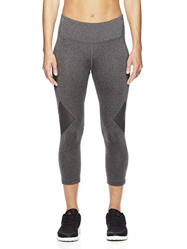Reebok Women's Printed Capri Leggings with Mid-Rise Waist Performance Compression Tights - Charcoal Mine Heather, Small ()