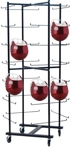 Champion Sports Rolling Football Helmet Rack (Black)