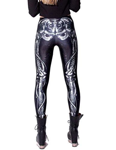 Bigood Leggings Sexy Femme Collants Fantaisie Pantalon de Crayon Squelette Jambe