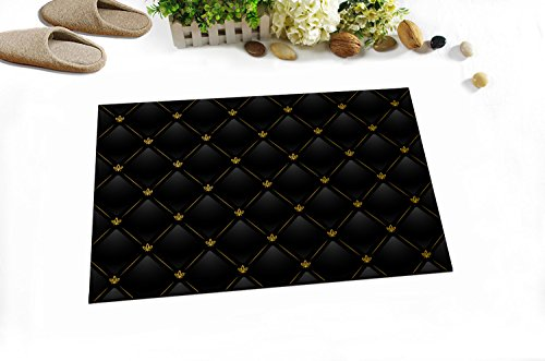 LB Simple Dark Flower Theme Design Decor Rugs for Bathroom Bedroom, Machine Washable Flannel Surface Rubber Backing, Floral Pattern Bathroom Decor 15 x 23 Inches