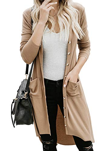 Dokotoo Womens Ladies Soft Fashion Fall Winter Solid Color Long Sleeve Snap Button Down High Low Open Front Ribbed Knitting Cardigans Sweaters for Womens Outerwear Coats Khaki Medium