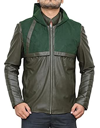 Green Arrow Hoodie Leather Jacket With Detachable Hoodie - 2 in 1 Style (XS, green)