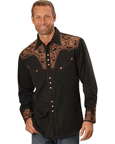 Scully Men's Embroidered Shirt, Black, XL