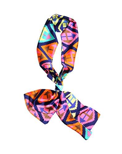 Faurn Silk Head Neck Hair Waist Bag Scarf Wrap, Long Floral Paisley Geometric Printed Ethnic Satin Bandana Orange Pink