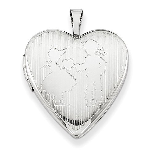 925 Sterling Silver 20mm Boy Giving A Heart To Girl Photo Pendant Charm Locket Chain Necklace That Holds Pictures W/chain Fine Jewelry Gifts For Women For Her