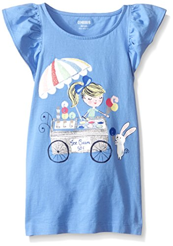 Gymboree Little Girls' Flower Stand Flutter Sleeve Graphic, Vista Blue, Small
