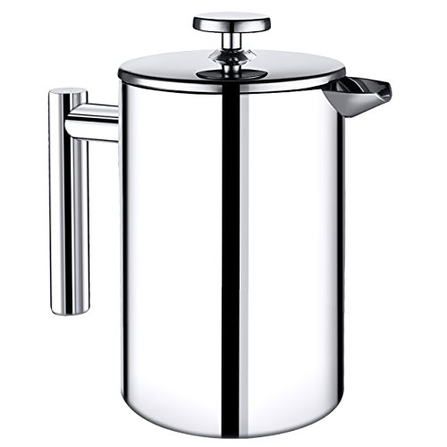 Homitt French Press Coffee Maker 500ml Double Stainless Steel Layer with Heat Resistant, Tea Maker, Coffee Filter with 1 Measuring Spoon, 2 pcs Filter Screen and 1 Stainless Steel Mixing Spoon