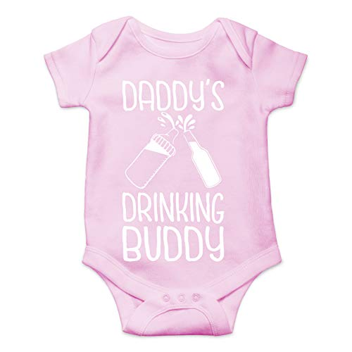 (Daddy's Drinking Buddy - Gift Idea for Dad - Funny Cute Joke Infant Creeper, One-Piece Baby Bodysuit (Pink, 6)