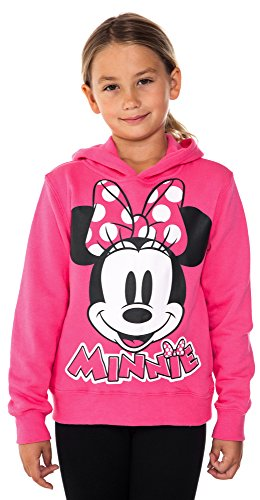 Disney Girls Minnie Mouse Pied Fleece Hoodie Fuchsia Large by Disney