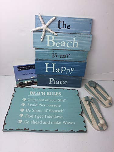(The Beach Is My Happy Place Sign - Beach Rules Sign - Pair of Sandal Wall Hooks 4 Pc Beach Bundle)