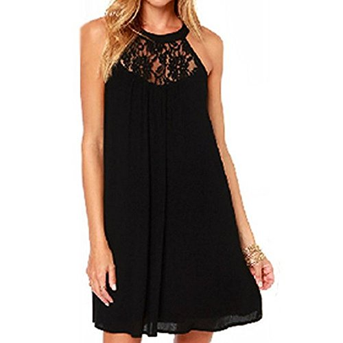 vanberfia Women's Sleeveless Lace Patchwork Loose Casual Mini Chiffon Dress (L, 6331) ()