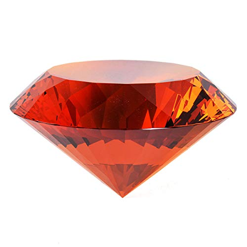 - Amber Crystal Glass Diamond Shaped Decoration 80mm Jewel Paperweight,Gift Decoration Idea for Christmas, Thanksgiving