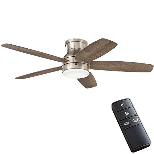 Home Decorators Collection Ashby Park 52 in. Integrated LED Brushed Nickel Ceiling Fan with Light Kit and Remote Control…