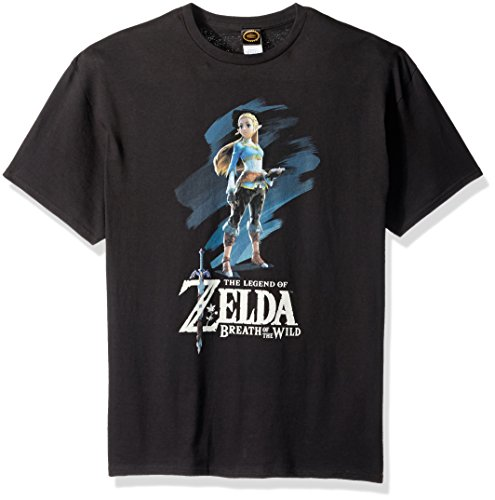 Nintendo Men's Breath of The Wild Zelda Paint T-Shirt, Black, Large (Link And Zelda A Link To The Past)