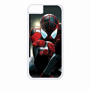 Spiderman Spider- Hard White Plastic Snap - On Case with Soft Black Rubber Lining-Apple Iphone 5 - 5s - Great Quality!