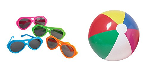 (Beach Pool Party Favor Supplies Ball Sunglasses 24 Piece Set for 12)