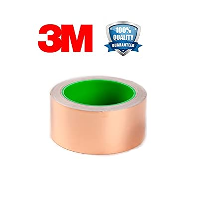 Copper Foil Tape with Double Conductive Adhesive, for Stained Glass Soldering, Electrical Repairs, Grounding EMI Shielding, Slug Repellent, Paper Circuits