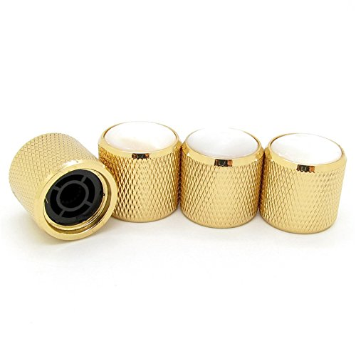 Gold Volume Tone Control Metal Knob w/ Pearl White Top for Guitar Bass Pack of 4