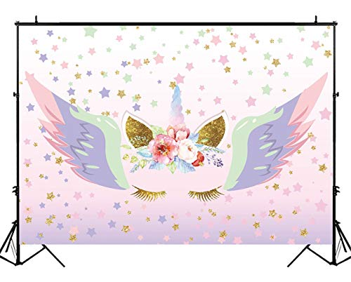 Funnytree Unicorn Photography Backdrop Watercolor Graffiti Coloful Wings Gold Stars Background Pink Flowers Sweet 16 Banner Princesse Newborn Baby Girl Birthday Party Photo Booth Props 5X3ft