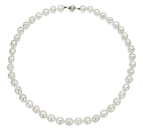 Sterling Silver 11-11.5mm White Baroque Freshwater Cultured Pearl Ball Clasp Necklace, 24