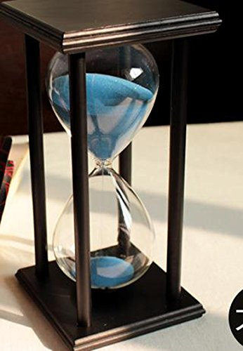 60 Minutes Hourglass Timer Creative Gift Home Decorations Ornaments (black frame blue sand)