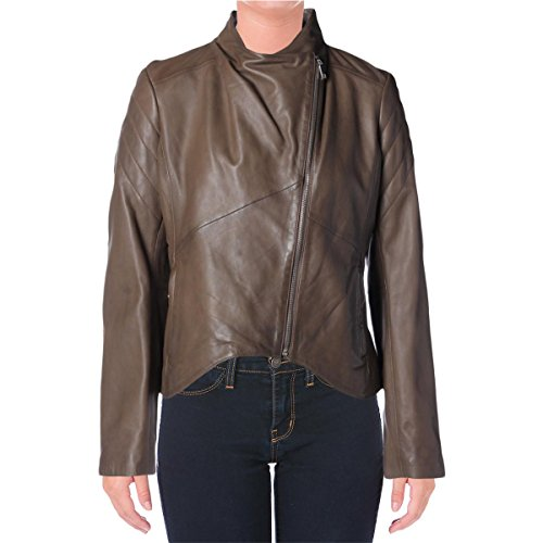Elie Tahari Womens Celeste Lamb Leather Asymmetric Motorcycle Jacket Brown XS