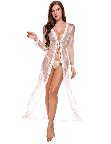 Romanstii Womens' Lace Open Front Cardigan Maxi Swimsuit Cover Up Nightwear Cardigan With G-string 2pcs Set(White,XX-Large)