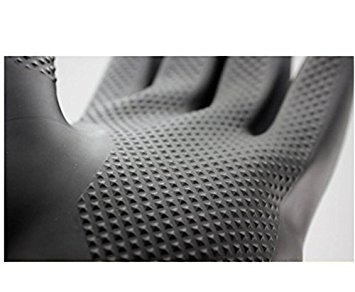 by Buwico Buwico/Ã/'/Â/® 60CM Lengthened Latex Industrial Gloves Acid Wear Thick Long Black Rubber Gloves 1 Pair