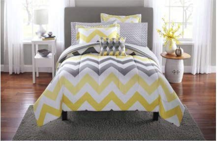 (Mainstay* Bold and Fresh look 6-Piece Yellow Grey Chevron Bed in a Bag Bedding Comforter Set,)