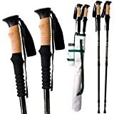 Pair of Traveler Mountain Path Trekking Poles Set with Cork Grip, Carrying Bag and Accessories, Outdoor Stuffs