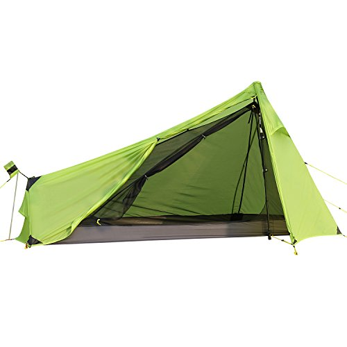 Andake 1.6lb Ultralight One Man Camping Tent, 15D Ultra-Thin Ripstop Nylon, Double-Side Silicone Coated, Water-Resist, Crease-Resist, Compact Backpacking Tent (No Main Pole) ()