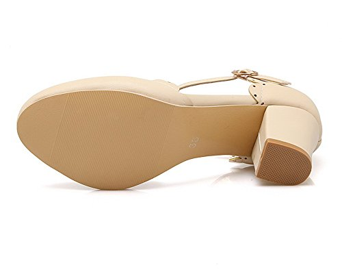Heels Women Kitten Toe Solid VogueZone009 Beige Sandals Closed Pu Buckle wSxH0w1Ydq