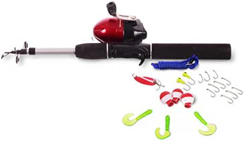 Fishing Gear Plus Telescopic Kids Fishing Pole with Float and Hooks