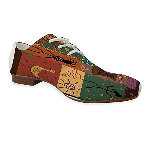 Primitive Durable Leather Shoes,Funky Tribal Pattern Depicting African Style Dance Moves Instruments Spiritual for Women,US 11