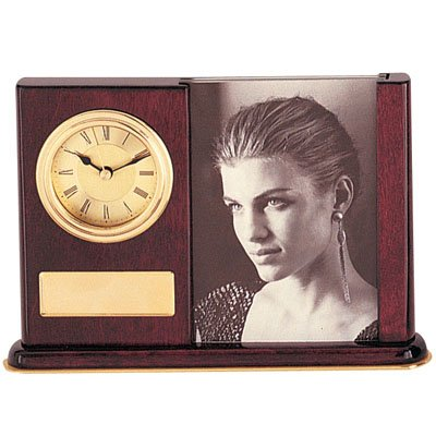 """Customizable 5-3/8 x 7 Inch Desk Clock Photo Frame High Gloss Piano Finish Rosewood Holds 3 1/2"""" x 5"""" Photo, includes Personalization"""