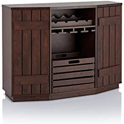HOMES: Inside + Out ioHOMES Lopez Plank Style Server with Removable Crate, Vintage Walnut